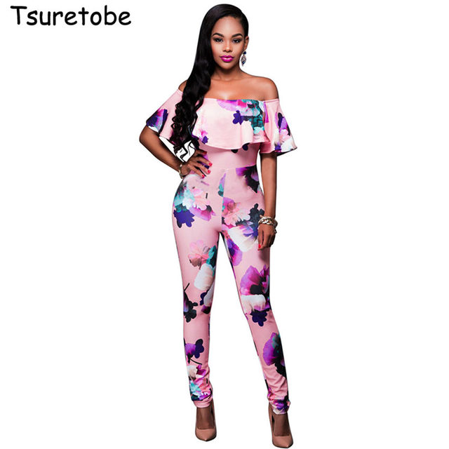7cd9859b0c3 Off Shoulder Sexy Floral Print Jumpsuits Two Piece Backless Club Rompers  Womens Jumpsuit Strapless Full Bodysuit