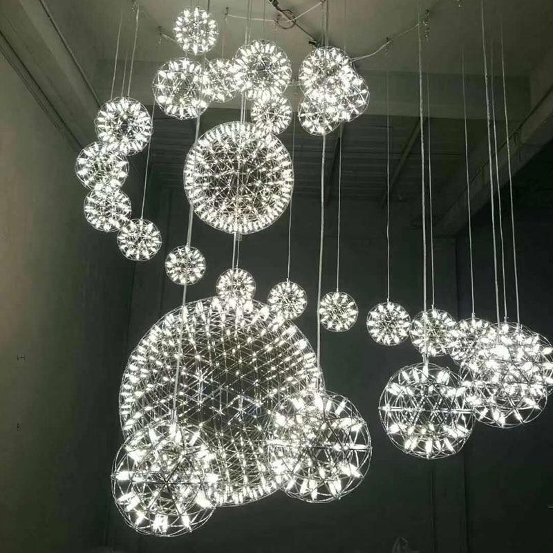 Lampe pendante moderne de boule de LED accrochant la lampe pendante de boule d'argent de feu d'artifice d'acier inoxydable pour l'hôtel de Lobby de Villa