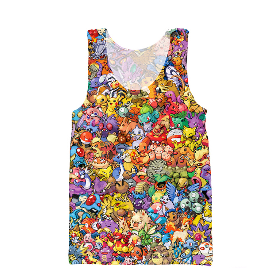 2017 Fashion Men   Tank     Tops   Funny Cartoon Printed Pokemon vest Cartoon Pikachu harajuku Casual Men's vest free shipping