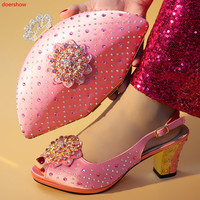 doershow Latest pink Color Italian Ladies Shoes and Bags To Match Set Nigerian Shoes and Matching Bag African Wedding!SXX1 41