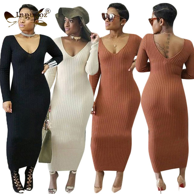 New Autumn Straight Maxi Dress Rib Knitted Full Sleeve V Neck Sheath Women  Long Dress 672105cf8201