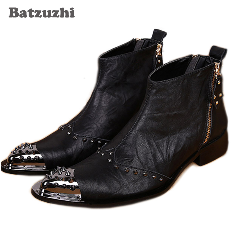 Batzuzhi Western Black Men Leather Boots Fashion Designer Metal Toe Rivets Short Ankle Boots for Men, EU38-46!