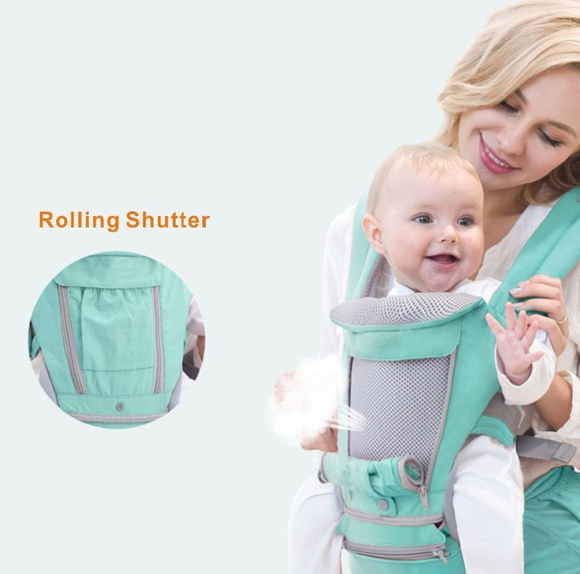 AIEBAO Ergonomic Baby Carrier Infant Kid Baby Hipseat Sling Front Facing Kangaroo Baby Wrap Carrier for Baby Travel 0-18 Months 4