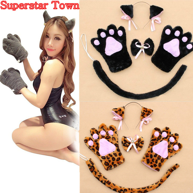 Anime cosplay cat costume cat ears plush paw claw gloves tail bow tie cute sexy women