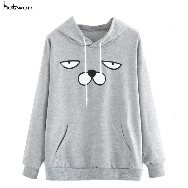 Cartoon Old man Print Sweatshirt Long Sleeve Casual Women Pullovers Gray Round Neck Cute Sweatshirt for Women