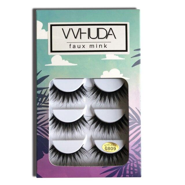 VVHUDA Eyelashes Faux Mink Cruelty free Super-soft 3D Natural Fiber Fur False Lashes 5Pair Reusable Handmade Premium Extension