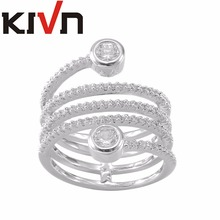 KIVN Fashion Jewelry Luxury Pave CZ Cubic Zirconia Wedding Bridal Engagement Rings for Women Mothers Birthday Christmas Gifts