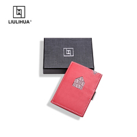 LLH leather stainless steel lock business card holder Red purse Thin Wallet Genuine Leather ID Business Card Case Card Holder