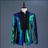 New Men's Two colors sequins suits stage costumes nightclubs bar DJ singer host Prom Dresses stage clothing Blazers jacket