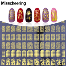 3d Nail Stickers 108pcs sheet Adhesive Gold Metallic Butterfly Leopard Mix Designs Nail Decal Nail Art