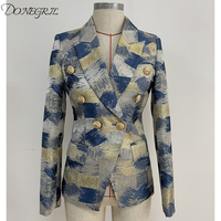New Fashion 2019 Designer Blazer Jacket Women's Lion Metal Buttons Double Breasted Colors Painting Jacquard Blazer