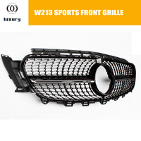 W213 ABS Diamond Style Front Bumper Mesh Grille Grill for Benz W213 E class with AMG Package E200 E300 2016 UP ( no star logo )