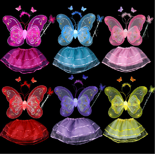 200 Sets/lot Free Shipping Christmas Halloween Carnival Costumes for Children Butterfly Wing Girls Fairy Party Favors for Kids