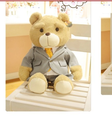 plush lovely teddy bear toy business suit & necktie teddy bear doll about 60cm new creative plush teddy bear doll lovely plaid suit ted bear toy gift about 60cm