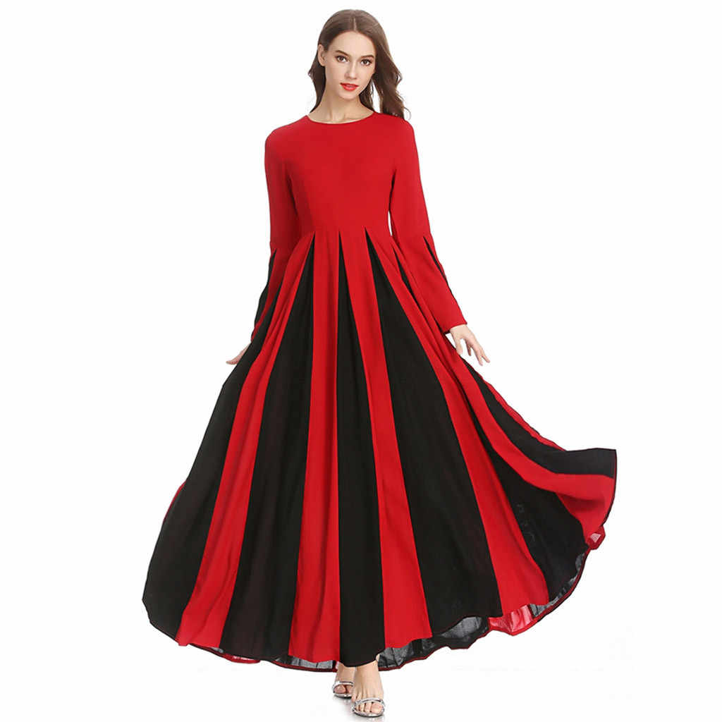 hot muslim dress for women 2019 Women's Stitching Slim A-line Pleated Dress Temperament  Tunic Middle East Ramadan Lady Dress