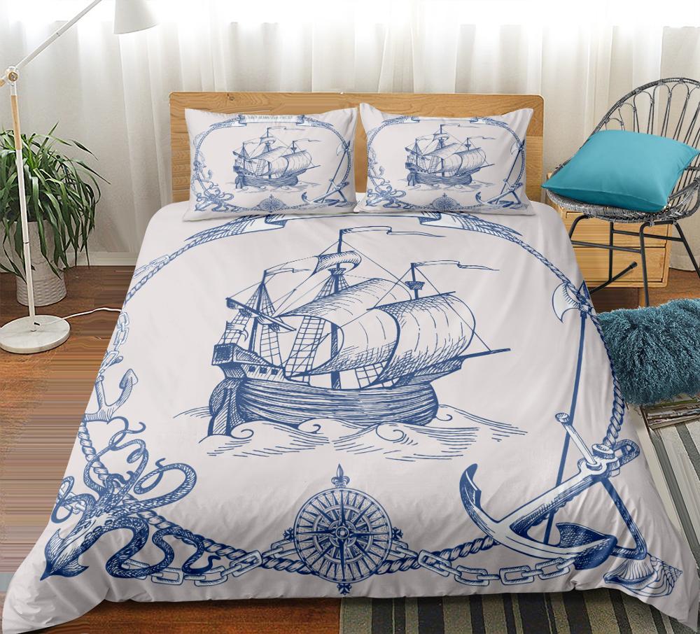 Sailboat Bedding Set Anchor Duvet Cover Set Vintage Style Bedspreads Compass Quilt Cover Set Queen Nautical Decor Map Bed Line