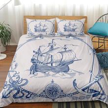 Juego de cama de Velero juego de edredón de ancla juego de cubrecamas de Estilo Vintage conjunto de funda de edredón Queen Mapa de decoración náutica línea de cama