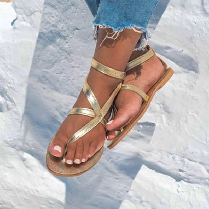 Arden Furtado frau schuhe 2019 sommer flache beiläufige sandalen mode flip-flops silber gold braun schuhe für mädchen große größe 42 43