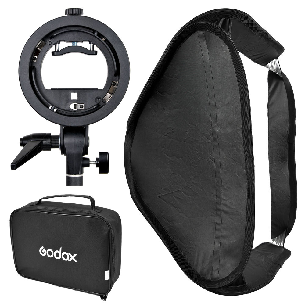 Godox S Type Speedlite Bracket Elinchrom Mount Holder Diffuser + 80 x 80cm Softbox for Studio Photography