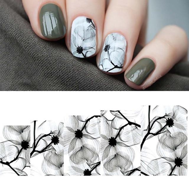 1 hoja de tinta flores patrón agua calcomanía elegante Floral marca de agua pegatina manicura uñas arte transferencia pegatina