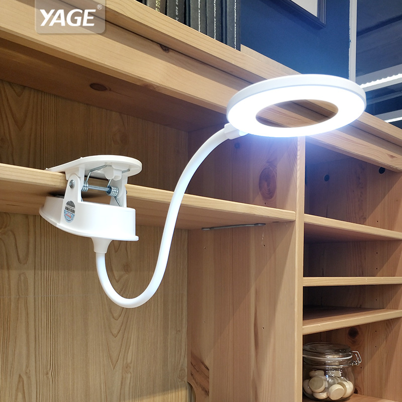 YAGE LED Touch On/off Switch 3 Modes Clip Desk Lamp 7000K Eye Protection Reading Dimmer 18650 Rechargeable USB Led Table Lamps led reading eye protection desk lamp brightness usb rechargeable led desk table lamp light with clip touch switch