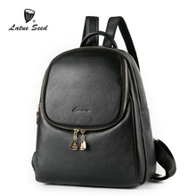 Latue Seed  Shoulders Bag Female Genuine Leather 2018 New Women Casual fashion trend Backpack Solid Black Bags latue seed oxford cloth ladie backpack trend 2018 new wild fashion casual nylon solid black soft 904 641d b
