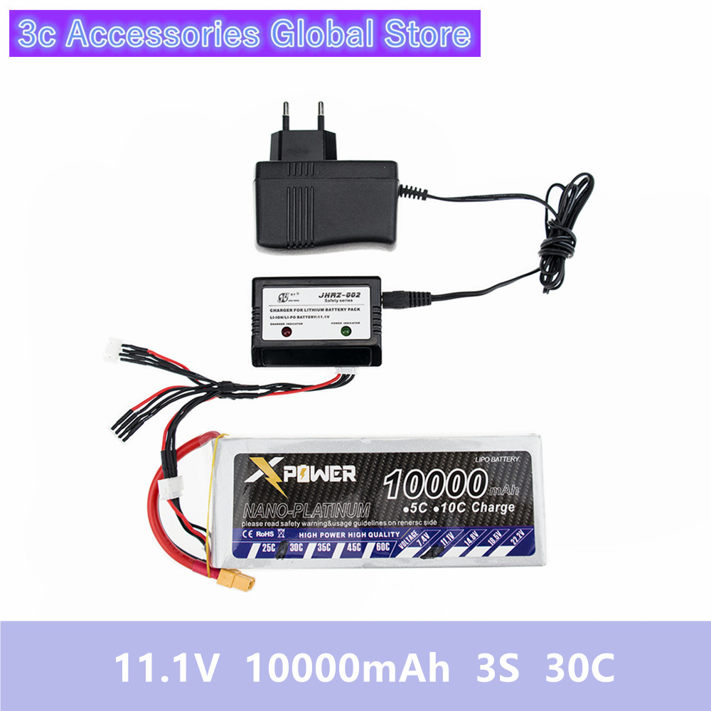 RC Drone Batteria 11.1V Lipo 10000mAh 3s 30C XT60 T EC5 Plug With Smart Charger 3 in1 Cable Set For RC Airplane Drone Qctocopter