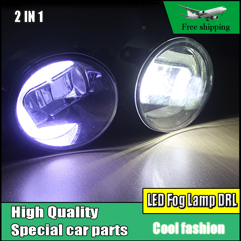 Car styling 2 IN 1 LED DRL Daytime Running Light Fog Lamp For Toyota Camry 2009-2013 LED Fog Light Day Light DRL Accessories wholesale solar energy air humidifier car air purifier with filtration system