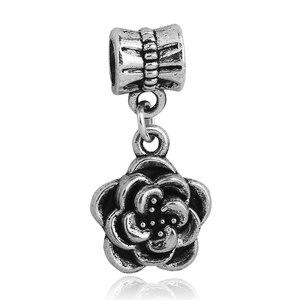Se adapta a Pandora pulsera de plata antigua cuentas de flores abalorios originales DIY perlas para la fabricación de joyas de Bisutería