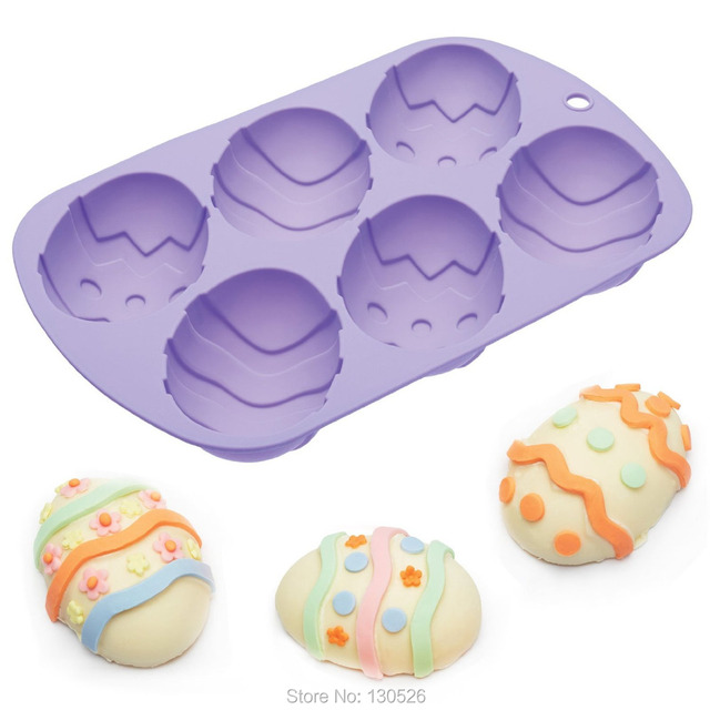 6 Cells 3d Medium Size Easter Eggs Chocolate Mould Non