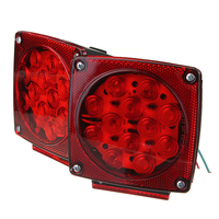 1 Pair 12V Square Red White LED Turn Brake Stop Trailer Truck Tail Light kit for Camper RV Boat Snowmobile SUV ATV Accessories