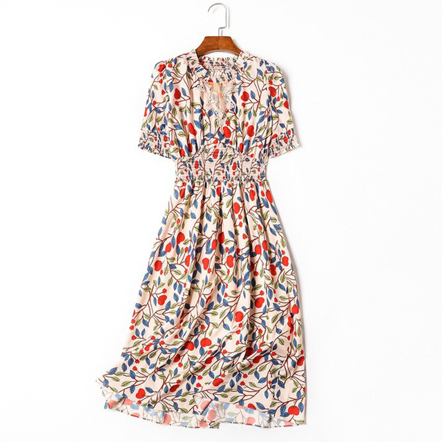 9f58825806 woman clothes colorful print women luxury casual dress crochet lace flower  cut out round neck short sleeve a line midi dress