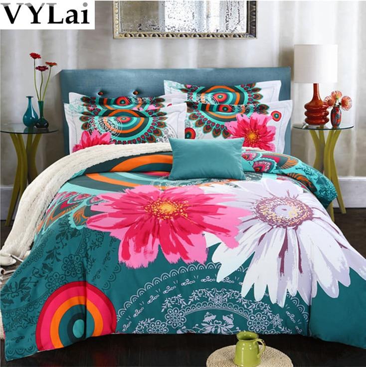 vintage bright floral bedding set 5pcs flower cover queenking size bed sheet bedding sets from home u0026 garden on
