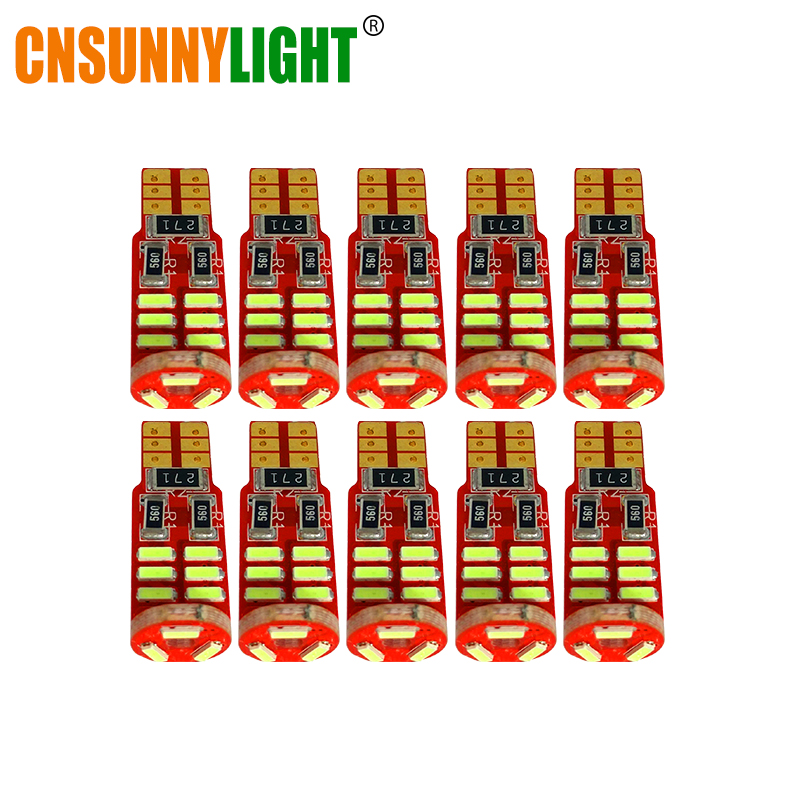 CNSUNNYLIGHT 10pcs High Power T10 W5W 4014 15SMD SMD LED Car Auto Wedge Parking Bulbs Lamp DC 12V Dome Clearance Trunk Lights