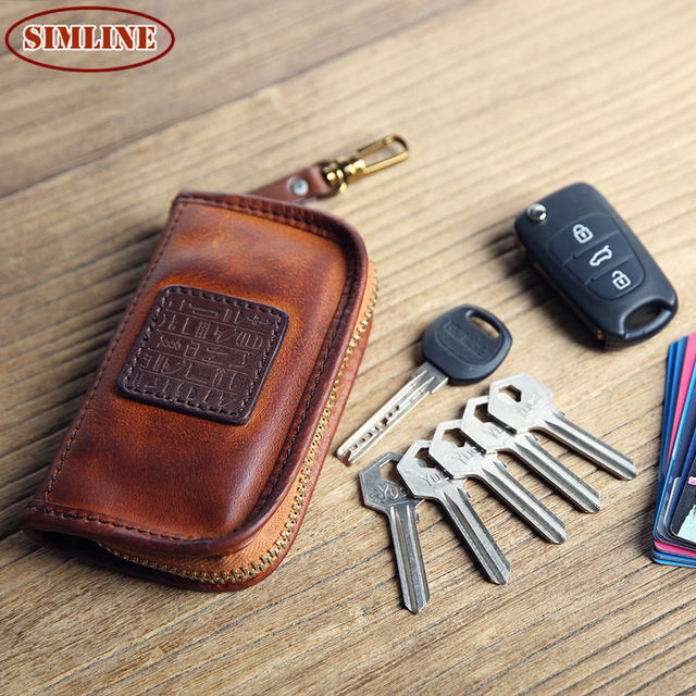 Luxury Brand Vintage Handmade 100% Genuine Leather Cowhide Men Zipper Car Key Wallet Wallets Case Card Holder Coin Purse For Man