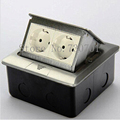 New 2 European floor socket with press switch made of aluminum or copper Silver/Yellow  for ground with bottom box