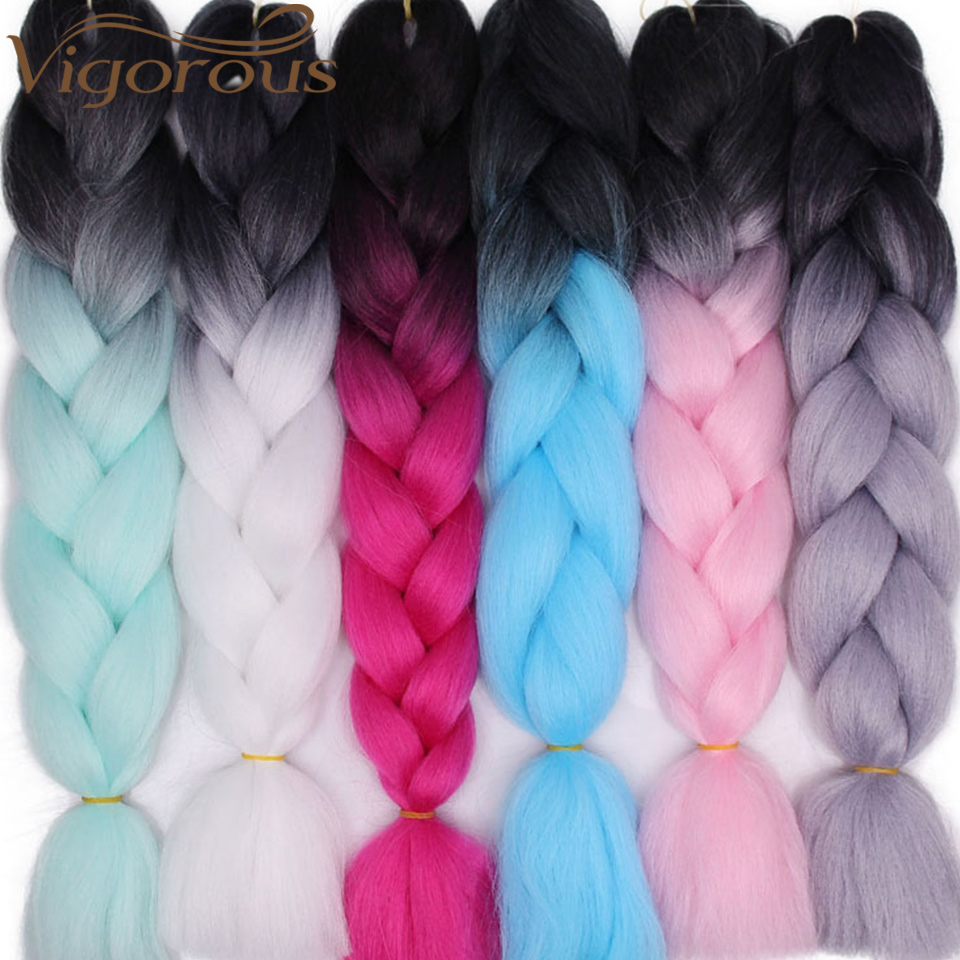 Vigorous Jumbo Braid Hair Ombre Crochet Braiding Synthetic Hair Extensions Yaki Braiding Hair Blond Red Pink(China)