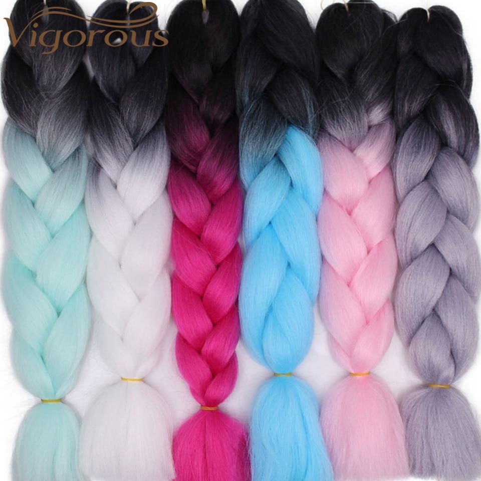 Extensões de cabelo sintético tranças de tranças de crochê de ombre jumbo vigoroso cabelo trança de yaki cabelo loiro vermelho rosa