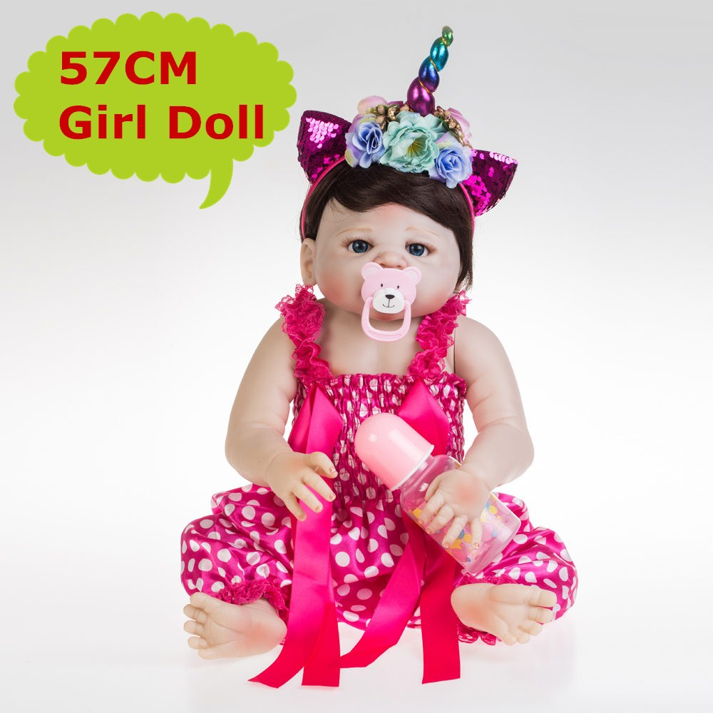 NPK 57CM Lovely Full Body Silicone Reborn Dolls Bebe Realistic Baby Girl In Soft 22 Doll