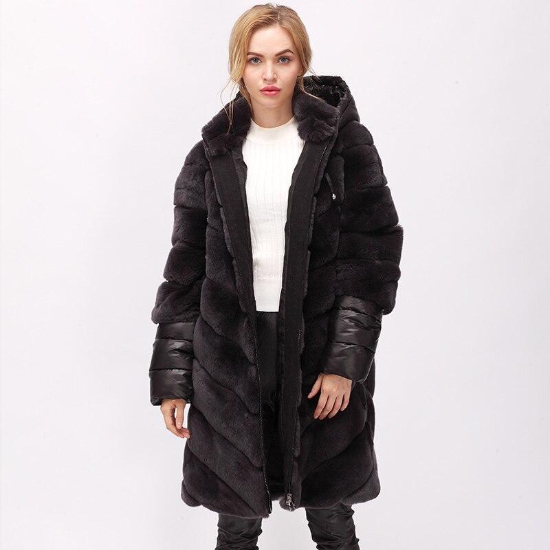 CNEGOVIK NOUVELLE longue rex de fourrure de lapin manteau stand-col Femmes de fourrure veste conçu avec amovible manches et capot vers le bas remplit manches