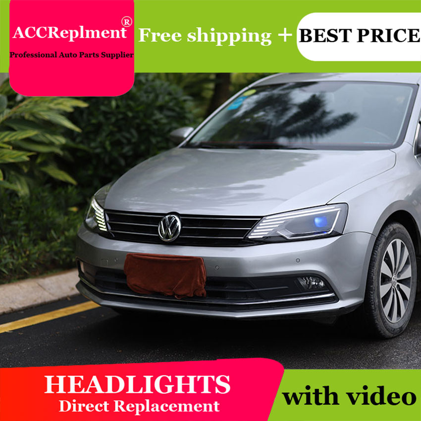 AUTO PRO 2011 2018 For vw jetta headlights parking Q5 bi xenon lens LED DRL H7
