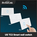 Nueva wifi broadlink tc2 1 gang ee.uu. 2 gang 3 gang control remoto inalámbrico táctil de interruptor de pared de vidrio templado interruptor de la luz 100 v-240 v domótica