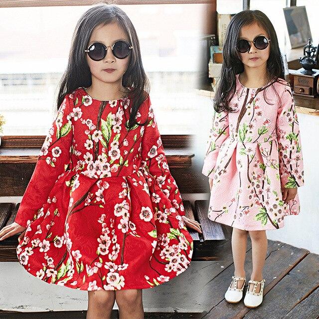 c4591dc83 Niñas Vestido de Flores de Algodón de Manga Larga Casual Vestidos de Niña  Rojo ropa de