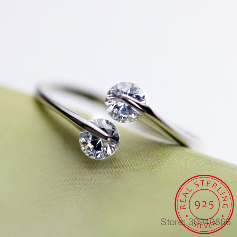 925 Sterling Silver Twin Zirconia Engagement Rings For Woman Anillos Opening Rings Wedding Fine Jewelry