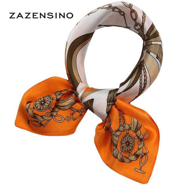 53*53CM Real 100%Silk Luxury Brand Carriage Chain Horse Women's Scarf Printed Square Small Sizes Female Scarves Hijab Foulard H