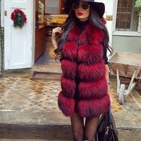 Fashionable Laides Natural Raccoon Fur vest women's real fur and leather gilet autumn winter waistcoat