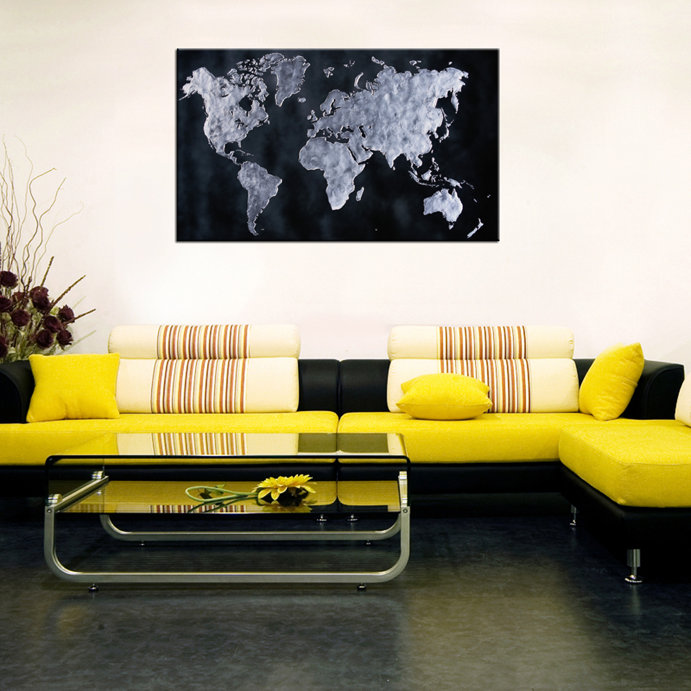 World Map Poster Canvas Wall Art Home Decor Contemporary Decorative ...