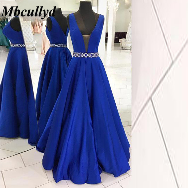 Mbcullyd Royal Blue Maid Of Honor   Dresses   2019 V Neck A Line Floor Length Long   Bridesmaid     Dress   Cheap Women Wedding Party Gowns