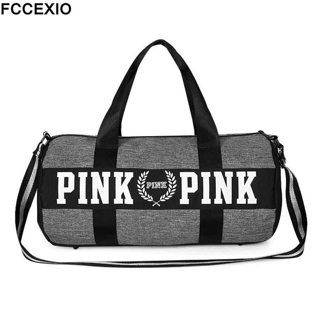 FCCEXIO 5 Colors Women Travel Fashion Love Pink Handbags Large Capacity Travel Bags Striped Waterproof Beach Bag Shoulder Bag