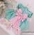 Azul Na Altura Do Joelho-Comprimento Do Laço da flor Branca menina vestidos com Pink Bow Mangas Compridas Vestido da ocasião do casamento da Festa de Aniversário do bebê vestidos de baile